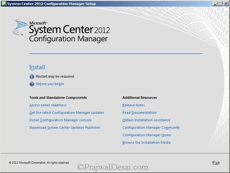 Deploying SCCM 2012 Part 6 – Installing SCCM 2012 Snap 1