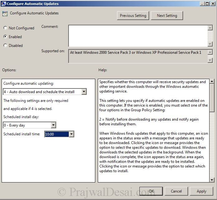 Configure Automatic Updates