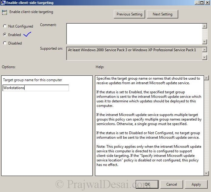 How to Configure Client Side Targeting in WSUS Snap 9