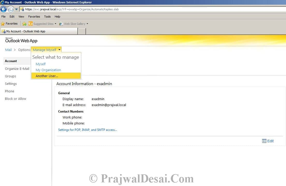 How to Configure Automatic Replies for a user in Exchange 2010 Snap 1
