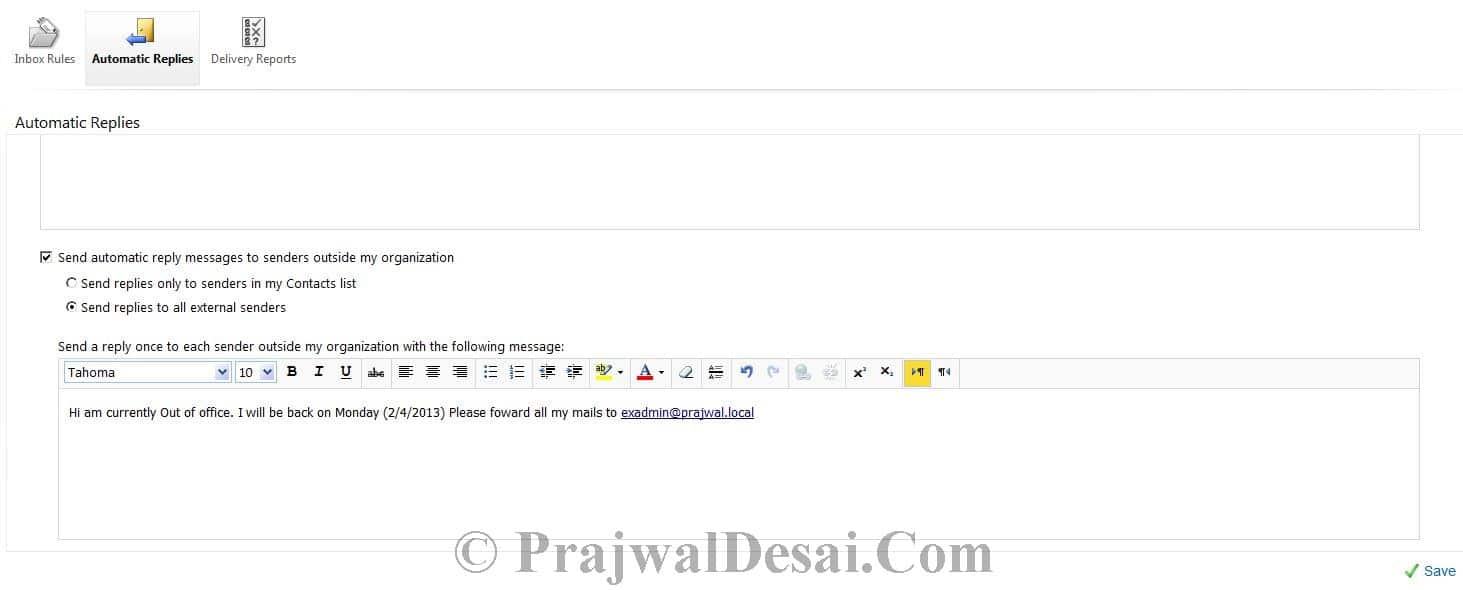How to Configure Automatic Replies for a user in Exchange 2010 Snap 5