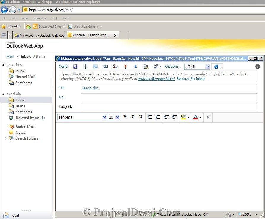 How to Configure Automatic Replies for a user in Exchange 2010 Snap 6