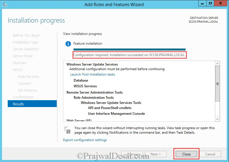 Installing WSUS for Configuration Manager 2012 R2