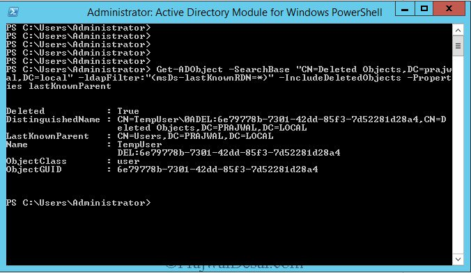 Check AD Object Deletion via PowerShell