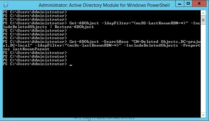 Restore Deleted Object using PowerShell