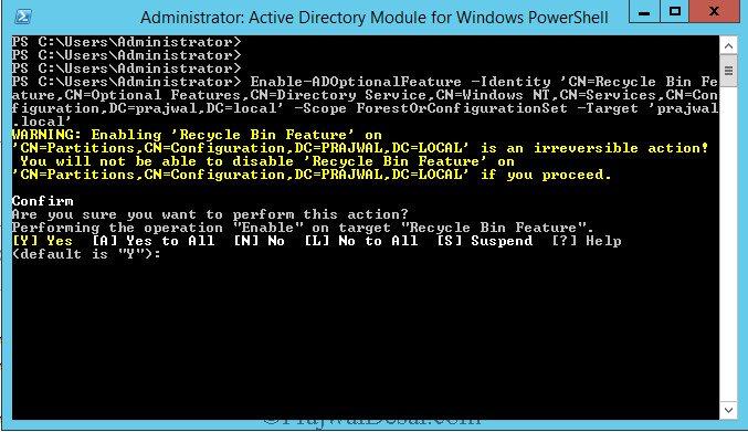 Enable AD Recycle Bin using PowerShell