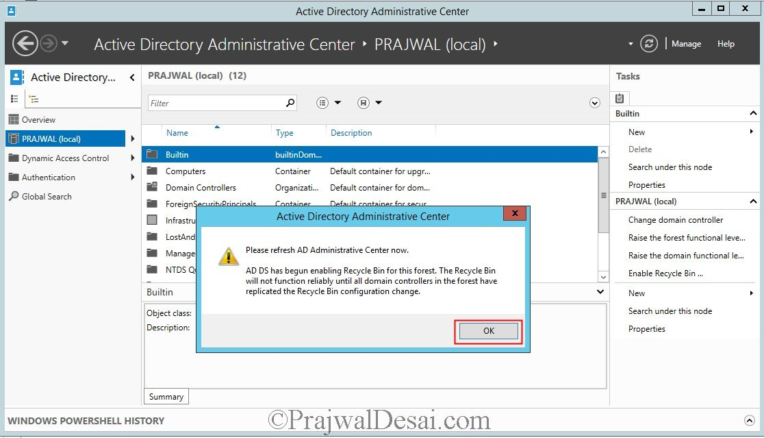 Enable Active Directory Recycle Bin Feature
