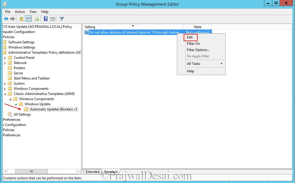 Disable IE10 Automatic Update via Group Policy