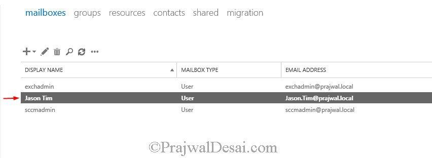 Create User Mailbox in Exchange Server 2013
