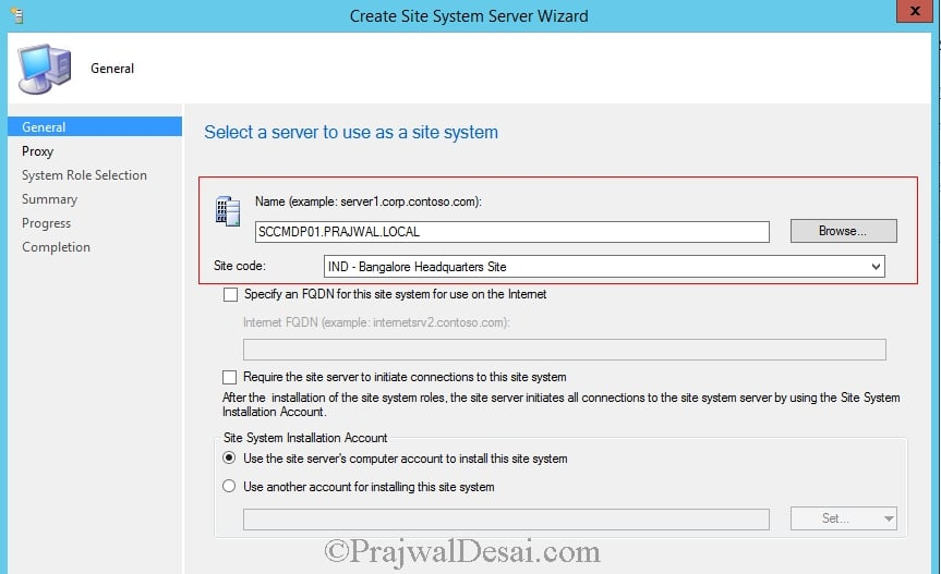 Create Site System Server Wizard