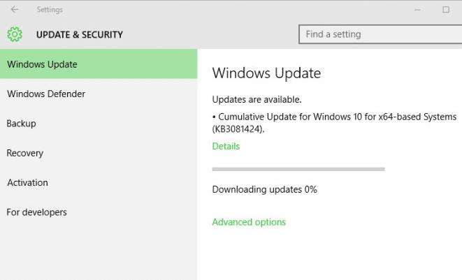 Windows 10 Cumulative Update released