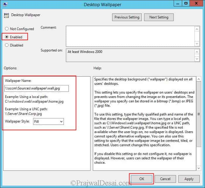 Deploy Desktop Background Wallpaper using Group Policy