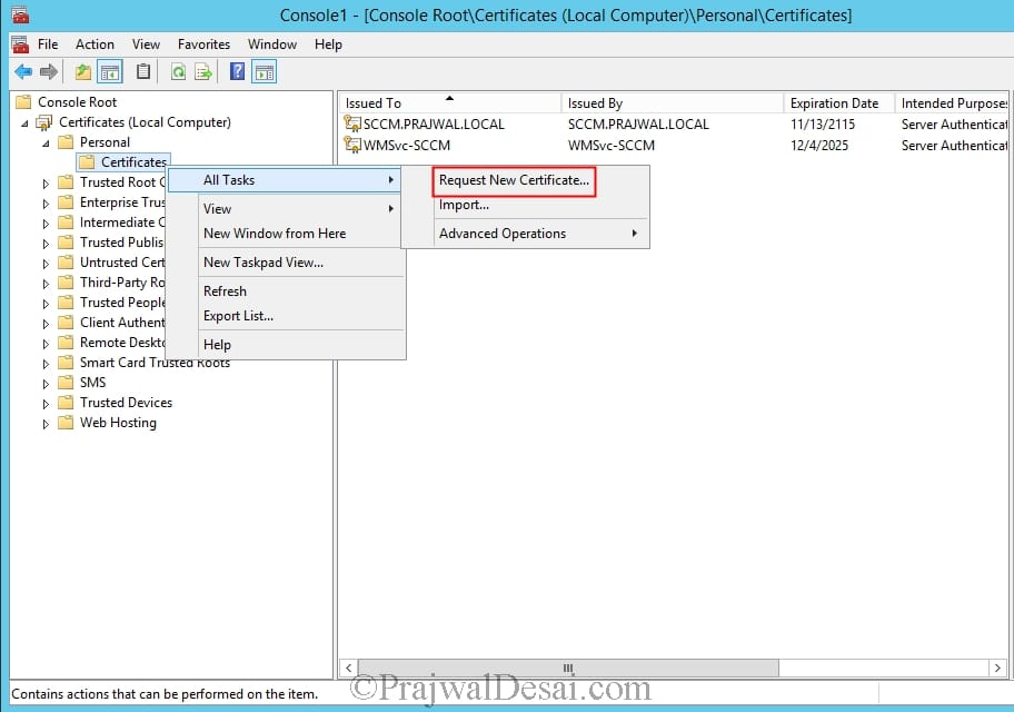 Deploying Web Server Certificate for Site Systems that Run IIS