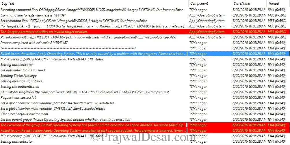 SCCM TS Error 0x80070057 during Apply Operating System Image step