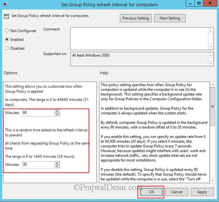 Modify Group Policy Refresh Interval for Windows computers