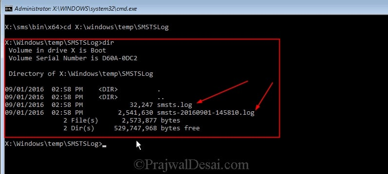 Copy SMSTS log file during Task Sequence Failure Snap2