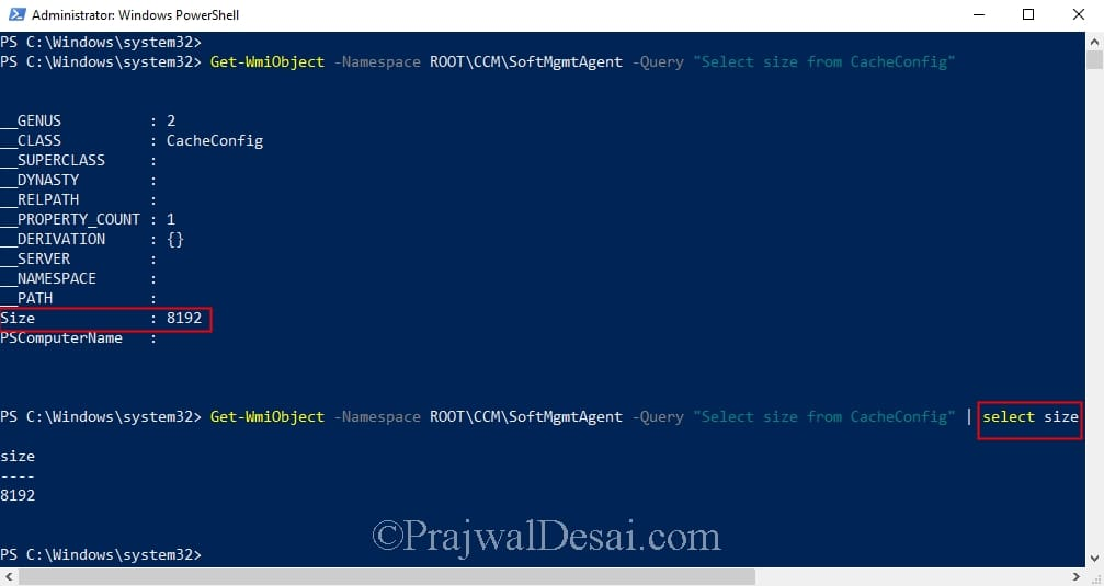 Get Configuration Manager Client Cache Size using PowerShell