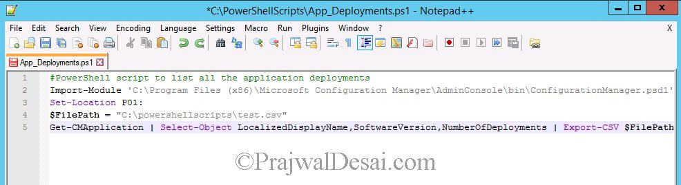 List SCCM Application Deployments Using PowerShell Script