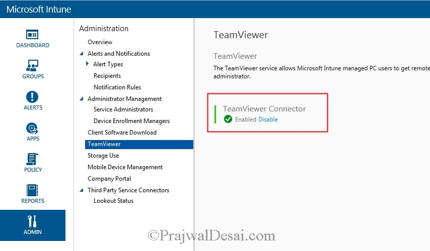 Enable TeamViewer Connector within Microsoft Intune
