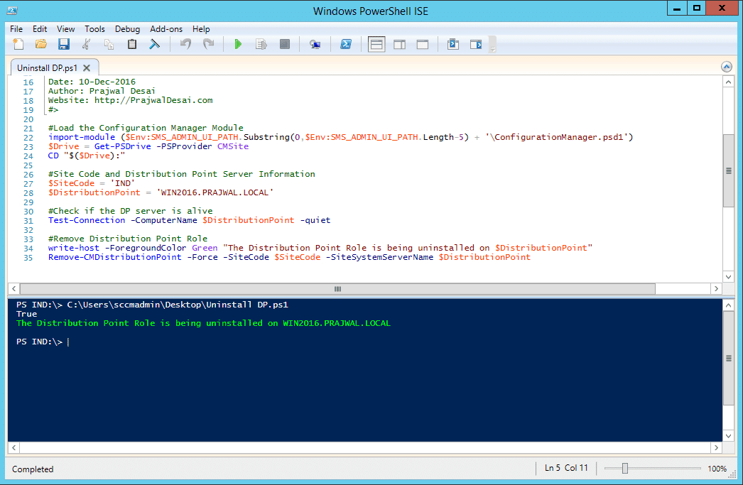 Remove SCCM Distribution Point Using Powershell Script