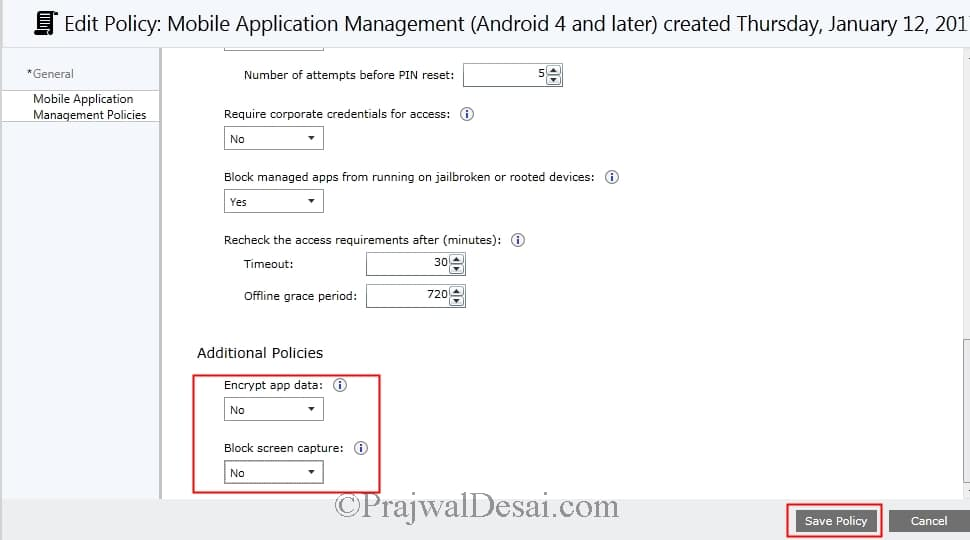 Configure Intune Mobile Application Management Policy