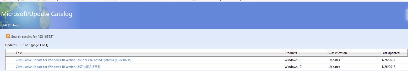 Windows 10 KB3216755 OS Build 14393.726 Changelog