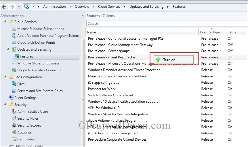 Enable SCCM Current Branch Pre-Release Features