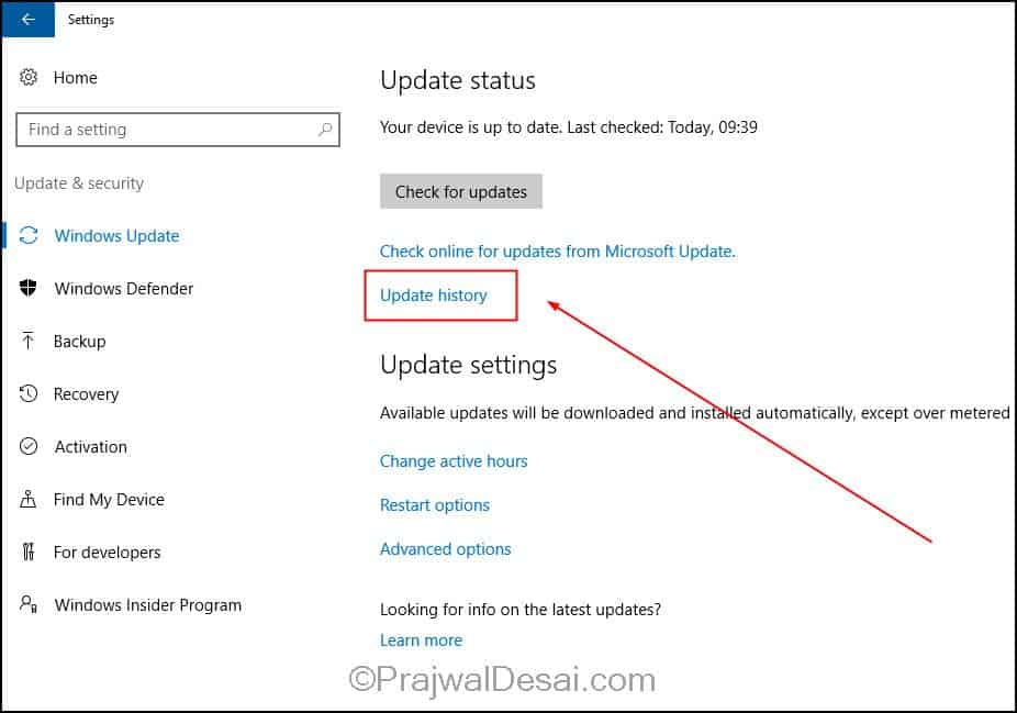 How to Check Windows 10 Update History