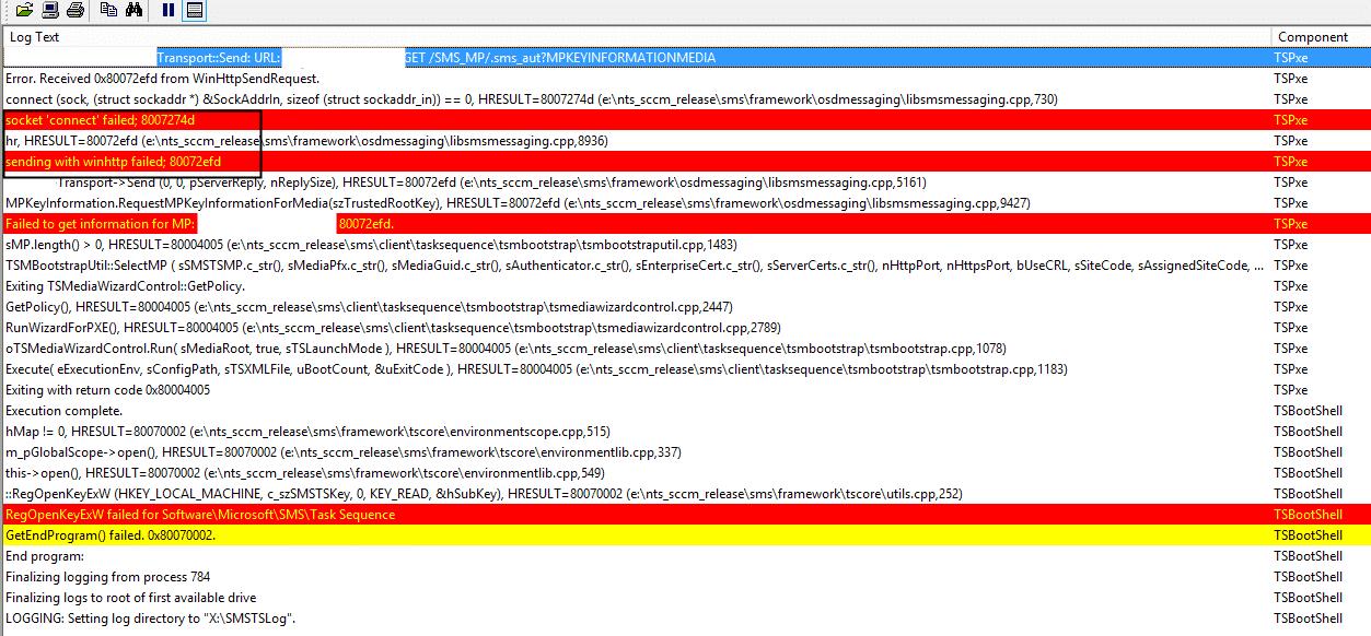 SCCM OSD Error Socket Connect Failed 8007274d