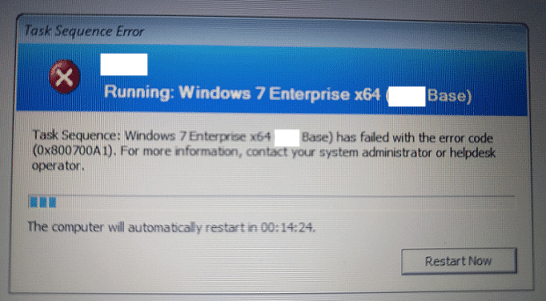 Task sequence has failed with the error code 0x800700A1