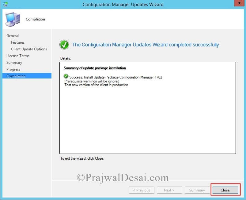 Installing update 1702 for System Center Configuration Manager