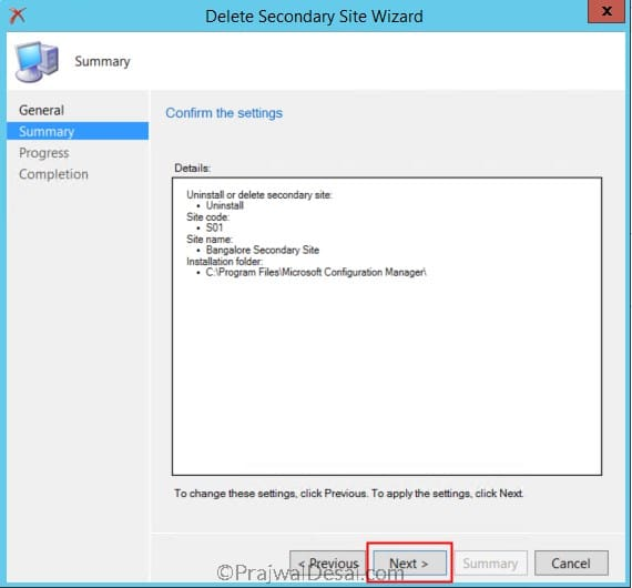 Remove Secondary Site Using Configuration Manager Console