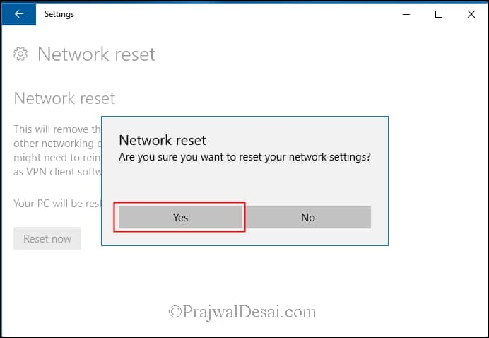 Reinstall Network devices using Windows 10 Network Reset