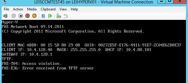 SCCM OSD Error PXE-T04 Access Violation