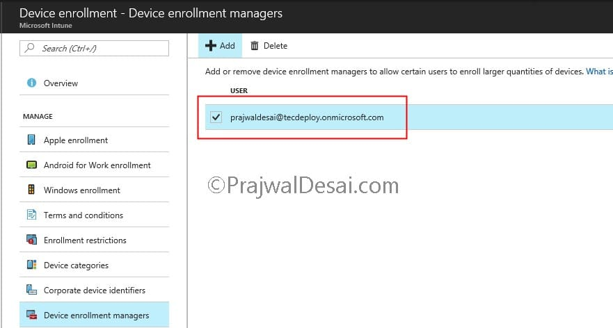 Adding Microsoft Intune Device Enrollment Manager
