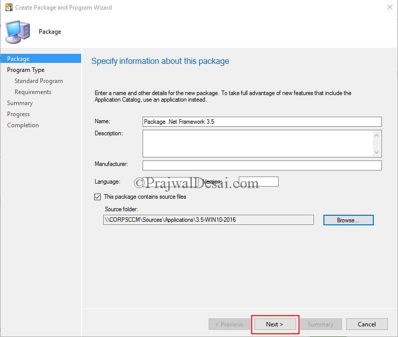 Enable .NET Framework 3.5 in Windows 10 using SCCM Snap1