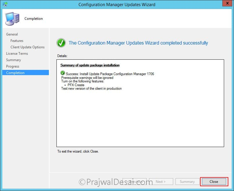 Installing Update 1706 of System Center Configuration Manager