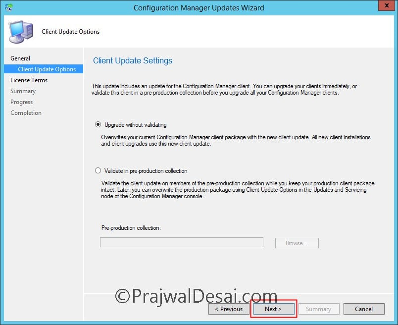 Install SCCM Current Branch version 1706 Update Rollup