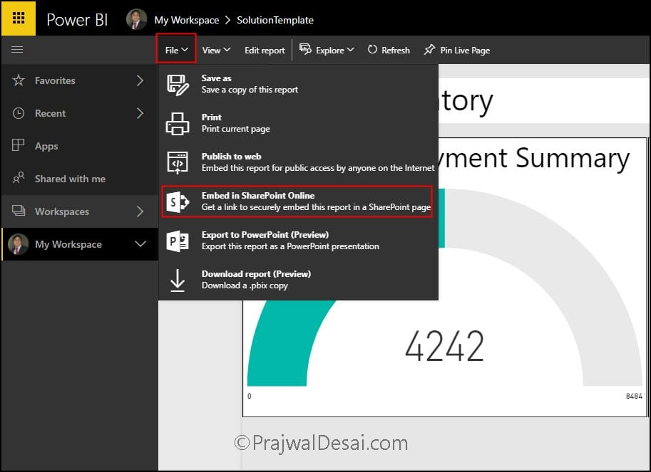 How to Integrate SCCM Power BI reports in SharePoint Online