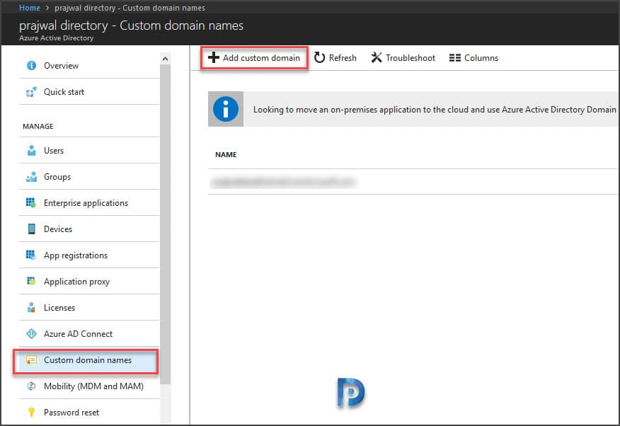 Add Custom Domain Name to Azure Active Directory