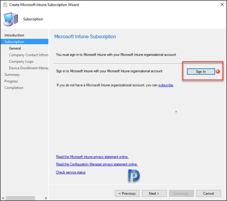 Add Microsoft Intune subscription
