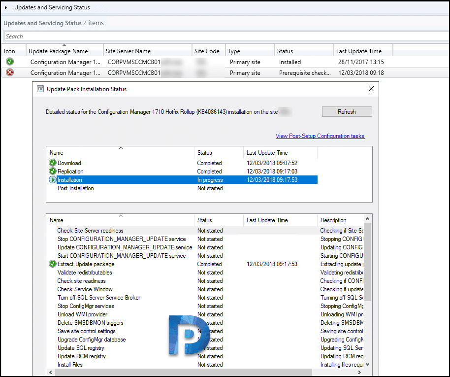 Configuration Manager Update Installation Prerequisite Check Failed