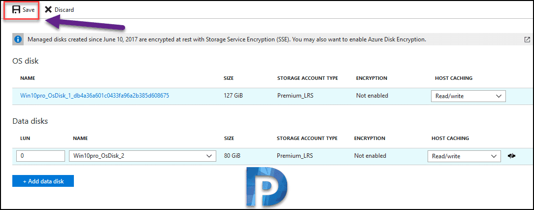 Create and Attach Data Disk to VM in Azure Portal Snap3