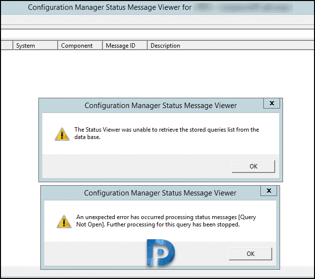 Configuration Manager Status Message Retrieval Issue
