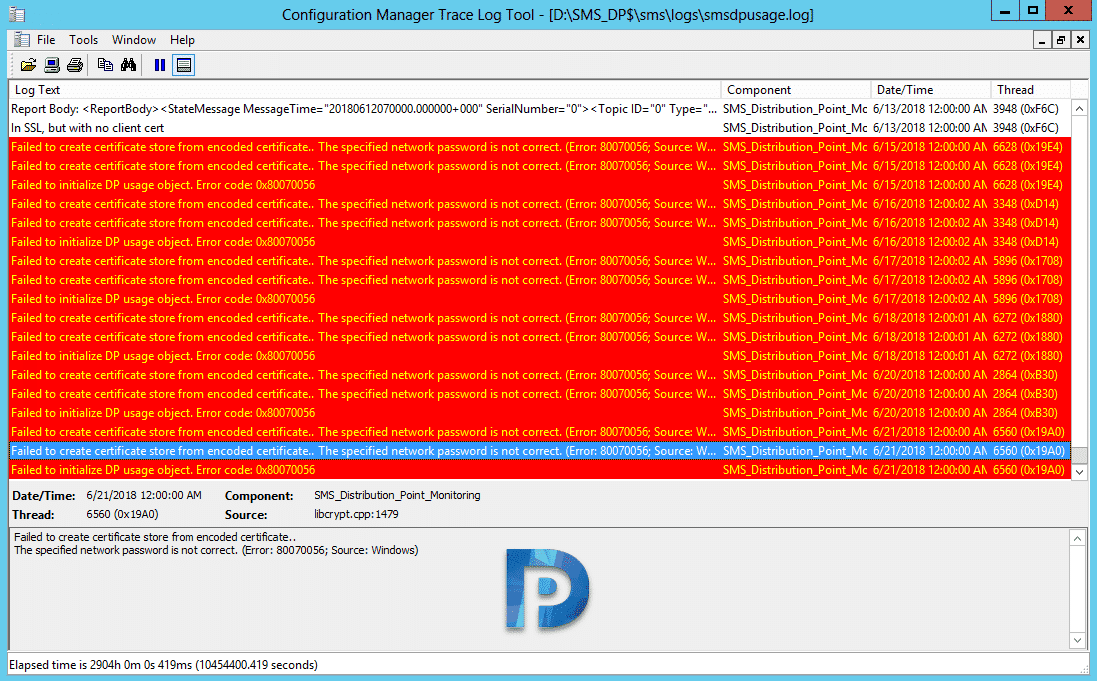Failed to create certificate store from encoded certificate Snap1