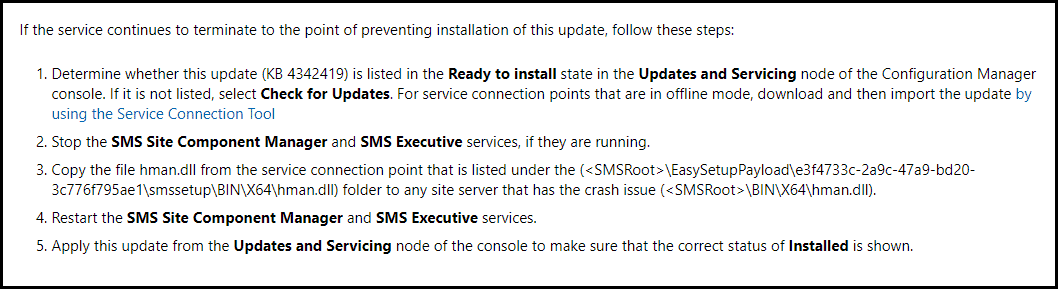 Installing Configuration Manager 1802 Hotfix KB4342419