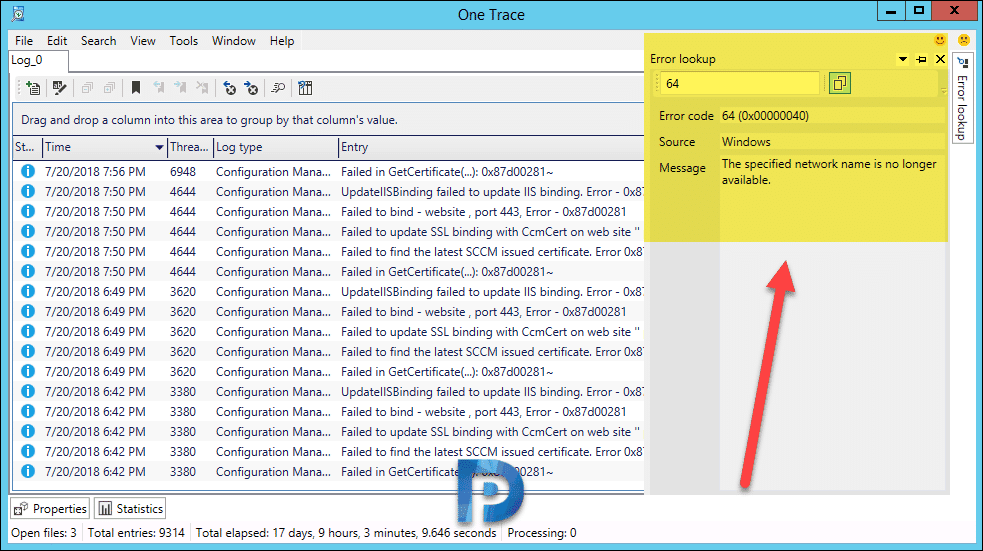 OneTrace Support Center Advanced Log File Viewer