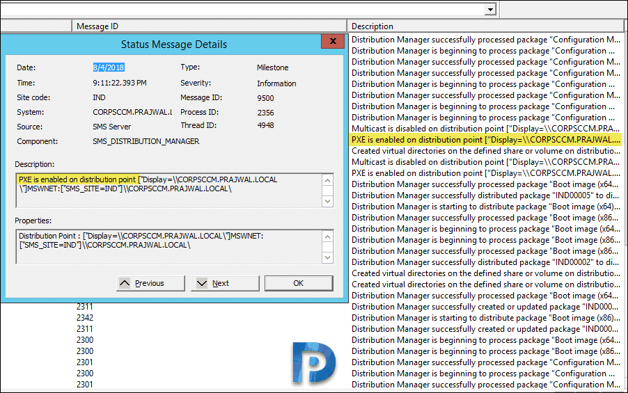 Confirm if PXE is enabled on distribution point