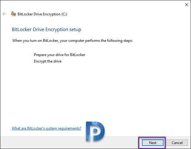 Enable Bitlocker Encryption on Windows 10