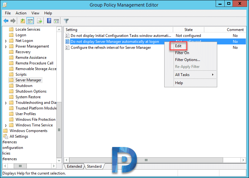 Disable Server Manager at Startup Using Group Policy